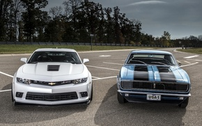 Картинка фон, Chevrolet, Камаро, Шевроле, Camaro, передок, Muscle car, старый и новый, Мускул кар