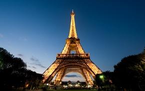 Картинка Париж, вечер, Эйфелева башня