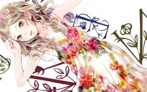 Картинка девушка, буквы, фон, платье, арт, лента, бантик, kishida mel