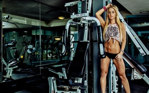 Обои look, legs, fitness, model, abs, pose, blonde