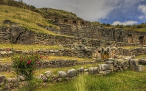 Картинка небо, трава, стена, руины, Перу