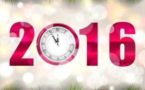 Картинка часы, Новый год, New Year, Clock, 2016