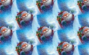 Обои Дед Мороз, Новый год, текстура, фон, настроение, праздник, подарки
