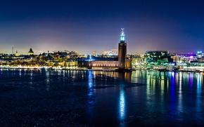 Картинка огни, отражение, ночь, зима, ратуша, Стокгольм, Швеция