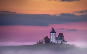 Картинка misty, twilight, sunset, hill, dusk, Slovenia, foggy, religion, Kranj, Jamnik, sacred place, Upper Carniola, Church ...