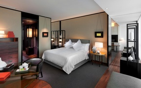 Картинка белый, дизайн, стиль, серый, лампы, комната, кровать, интерьер, спальня, бежевый, столики