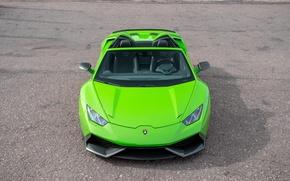 Обои зеленый, Lamborghini, ламборгини, Spyder, Novitec, фары, Torado, бампер, капот, передок, машина, карбоновый, Huracan
