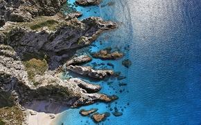 Картинка море, камни, скалы, побережье, Италия, солнечно, Italy, вид сверху, Sunny Shore, Aerial view, Капо Ватикано, ...