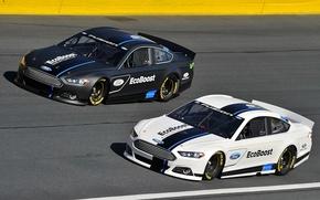 Картинка две, трасса, Ford, Fusion, посадка, просвет, NASCAR