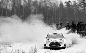 Картинка снег, Citroen, DS3, ситроен, чёрно белое фото, Bryan Bouffier, ERC