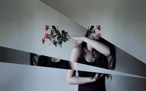 Картинка девушка, цветы, стиль