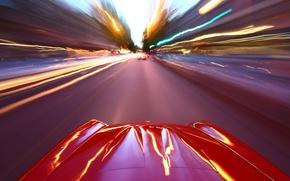 Картинка дорога, машина, авто, город, огни, обои, скорость, wallpaper, cars, езда