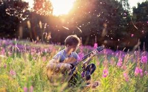 Картинка лето, гитара, музыка, парень