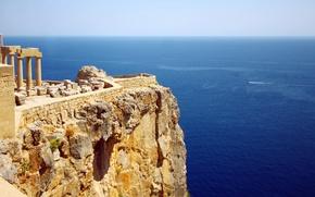 Обои Greece, sea cliff, ruins