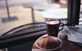 Обои Круасан, капучино, кофе, дождь