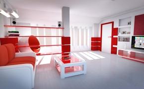 Обои стиль, Комната, красные тона, светлая комната