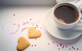 Картинка сердце, кофе, чашка, love, heart, beans, coffee