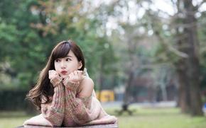 Картинка лето, лицо, настроение, волосы, азиатка