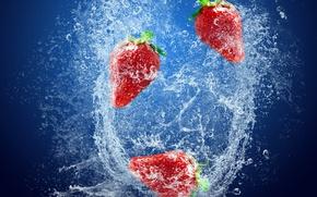 Обои ягоды, свежесть, вода, клубника, брызги