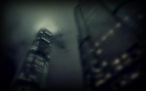 Обои свет, тучи, city, город, туман, окна, здания, небоскребы