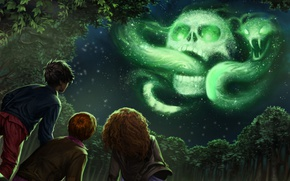 Картинка wallpaper, skull, girl, fantasy, magic, viper, snake, sky, trees, night, cloud, mark, stars, boy, symbol, ...