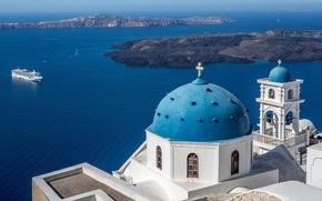 Картинка море, острова, Санторини, Греция, церковь, лайнер, купол, Santorini, Greece, колокольня, Эгейское море, Aegean Sea, Church …