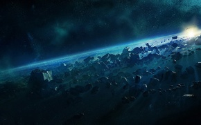 Картинка пространство, планеты, звёзды, астероиды, космическое