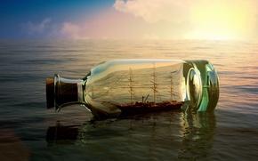 Картинка море, небо, вода, река, фон, обои, настроения, лодка, корабль, бутылка, wallpaper, sea, судно, широкоформатные, background, ...