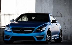 Картинка Mercedes-Benz, Авто, Синий, Забор, Тюнинг, Машины, Парковка