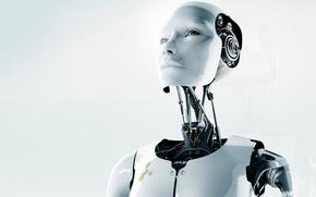 Обои белый, лицо, робот