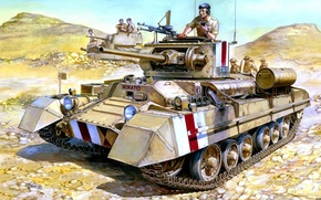 Картинка рисунок, арт, Валентайн, британский пехотный танк, Mk.III