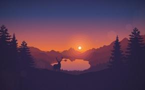 Картинка закат, горы, озеро, олень