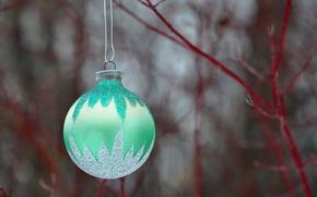 Картинка новый год, рождество, ветка, шарик, украшение