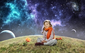 Картинка космос, роза, планета, девочка, шарфик, ребёнок