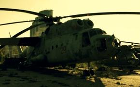 Картинка Солнце, Москва, Вертолёт, кладбище самолётов