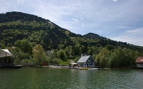 Картинка Ferienhäuser, Berge, Grün, Wasser, Alpsee, Immenstadt
