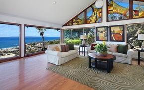 Картинка дизайн, диван, ковер, картины, витражи, Design, гостиная, Interior, Living