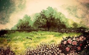 Картинка деревья, пейзаж, ветер, рисунок, розы, ромашки, картина, арт