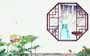 Картинка лето, девушка, рыбки, окно, арт, лотос