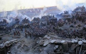 Картинка война, пушки, бой, панорама, солдаты, крым, фрагмент, мундиры, оборона севастополя, франц алексеевич рубо