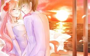 Картинка море, девушка, радость, закат, цветы, эмоции, ветер, пара, парень, невеста, фата