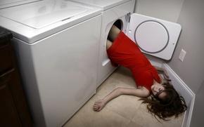 Картинка девушка, ситуация, washing machine