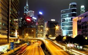 Картинка дорога, ночь, огни, Гонконг, небоскребы