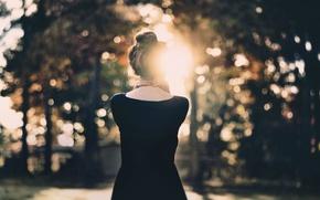 Картинка девушка, солнце, спиной, боке