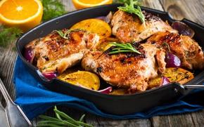 Картинка фон, апельсин, курица, hot, овощи, background, orange, вкусно, vegetables