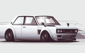 Картинка белый, арт, Nissan, white, ниссан, Skyline, front, скайлайн, stance, JDM