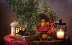 Картинка яблоко, апельсин, свеча, фонарь, шишки, сосна