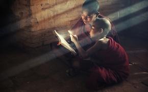 Картинка свет, дети, книга, saint, book, children, reading, буддизм, kids, монахи, monks, читают, buddism