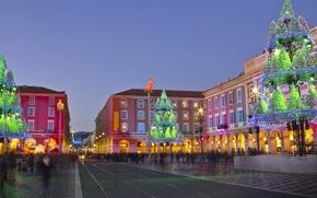 Картинка город, Франция, Рождество, Прованс-Альпы-Лазурный берег, Ницца, площадь Массена