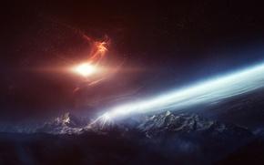 Обои космос, звезды, сияние